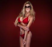 Presentación rubia atractiva de la señora Imagen de archivo libre de regalías