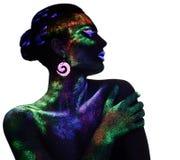 Presentación sensual de la mujer en maquillaje fluorescente de la pintura Fotos de archivo libres de regalías