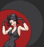 Presentación sonriente del bailarín del burlesque del ot del cabaret Fotos de archivo