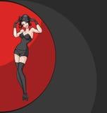 Presentación sonriente del bailarín del burlesque del ot del cabaret Imagenes de archivo