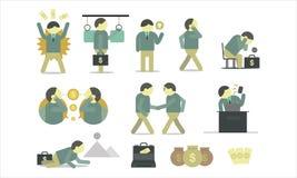 Presentación y dirección infographic volume2 de la discusión del hombre de negocios ilustración del vector
