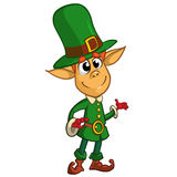 Presentación del personaje de dibujos animados del duende del día del St Patricks Ilustración del vector Fotografía de archivo