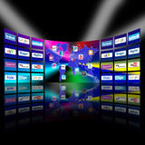 Presentación video de la pared de la red móvil de Apps Fotos de archivo