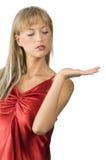 Presentador en rojo Fotografía de archivo libre de regalías