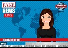 Presentador estrella en noticias de la difusión de TV Ejemplo falso del vector de las noticias de última hora Imagenes de archivo