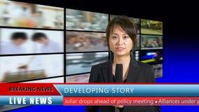 Presentador femenino de las noticias en estudio Fotografía de archivo libre de regalías