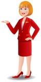 Presentadora de aire atractiva en uniforme del rojo Fotos de archivo libres de regalías