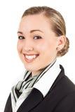 Presentadora de aire joven feliz Imagen de archivo libre de regalías