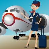 Presentadora de la línea aérea con el aeroplano Fotos de archivo libres de regalías