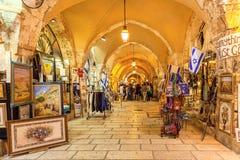 Presentaffärgalleri i gammal stad av Jerusalem Arkivbild