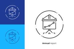 Presentatörskärm med diagramlinjen konstvektorsymbol vektor illustrationer