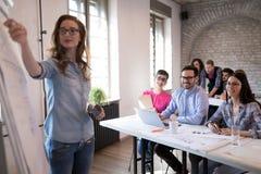 Presentatie en creatieve die briefing in bureau wordt gehouden stock foto