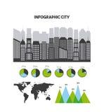 presentatie van de gebouwen de infographic stad stock illustratie