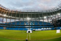 Presentatie van het gebied bij het onlangs geconstrueerde Dynamostadion in Moscowe Stock Foto's