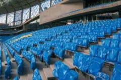 Presentatie van het gebied bij het onlangs geconstrueerde Dynamostadion in Moscowe Stock Afbeelding