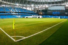 Presentatie van het gebied bij het onlangs geconstrueerde Dynamostadion in Moscowe Stock Foto