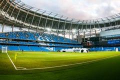 Presentatie van het gebied bij het onlangs geconstrueerde Dynamostadion in Moscowe Stock Afbeeldingen