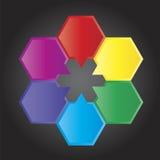 Presentatie van zes gekleurde blokken Stock Foto's