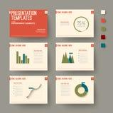 Presentatiedia's met infographic elementen Stock Afbeeldingen