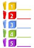 Presentatiemalplaatje - vijf stappen, opties, manieren met voetafdrukken Stock Foto's