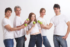 Presentating green apples Stock Photo