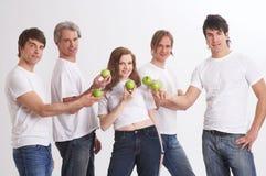Presentating green apples Stock Photo