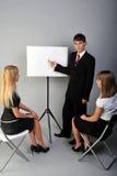 Presentation. Man presentiert and womens listening Royalty Free Stock Photo