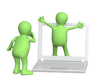 Presentation. 3d puppets with laptop Royalty Free Stock Images