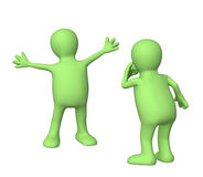 Presentation. Two 3d puppets isolated over white Stock Photo