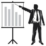 Presentation. Businessman making a presentation, businessman showing business presentation Royalty Free Stock Photo