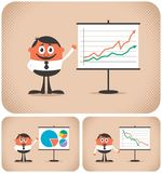 Presentation. Cartoon character making a presentation. The illustration is in 3 versions. You can replace the chart with your own message Stock Photos