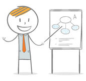 Presentation. Doodle stick figure: Businessman holding and pointing a stick to a paperboard Royalty Free Stock Photos