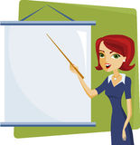 Presentation. Woman presenter with blank presentation whiteboard Royalty Free Stock Images