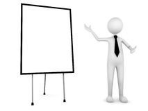 Presentation. Man presenting your information on board; 3D render Royalty Free Stock Images