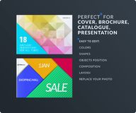 Presentation. Abstract vector set of modern horizontal templates with colourful polygonal shapes stock illustration