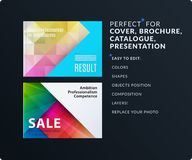 Presentation. Abstract vector set of modern horizontal templates with colourful polygonal shapes royalty free illustration