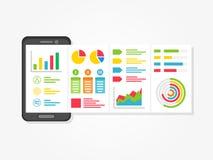 Presentation app med diagram, idérikt begrepp för diagram royaltyfri illustrationer