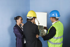 Presentation of architecture project in office stock photos