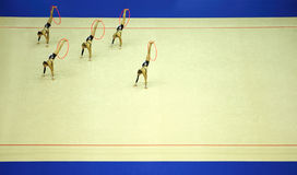 Presentation of artistic gymnastics hoop Royalty Free Stock Photo