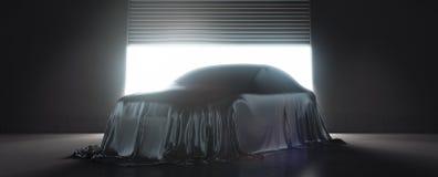 Presentation av bilen som täckas med den svarta torkduken framförande 3d fotografering för bildbyråer