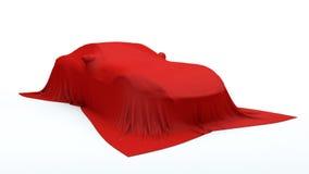 Presentation av den röda sportbilen royaltyfri fotografi
