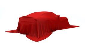 Presentation av den röda sportbilen royaltyfria bilder