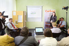 Presentation av isolering av fasadCaparol kol Arkivfoto