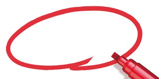 Red circle made with a marker royalty free illustration