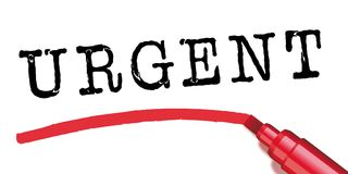 Urgent underlined with a marker royalty free illustration