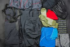 Presentation of a set of clothes for hiking. Presentation of the basic set of clothes for hiking Royalty Free Stock Photography