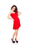 Presentation beautiful lady in red dress Stock Images