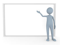 Presentation on Big Board. 3D man represents something on big board Royalty Free Stock Photography
