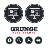 Presentation billboard sign icon. Diagram symbol. Grunge post stamps. Presentation billboard sign icon. Scheme and Diagram symbol. Information, download and Stock Photography