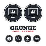 Presentation billboard sign icon. Diagram symbol. Grunge post stamps. Presentation billboard sign icon. Scheme and Diagram symbol. Information, download and Royalty Free Stock Image